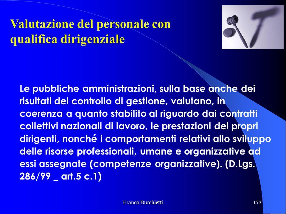 Franco Burchietti173 Valutazione del personale con qualifica dirigenziale Le pubbliche amministrazioni, sulla base anche dei risultati del controllo d