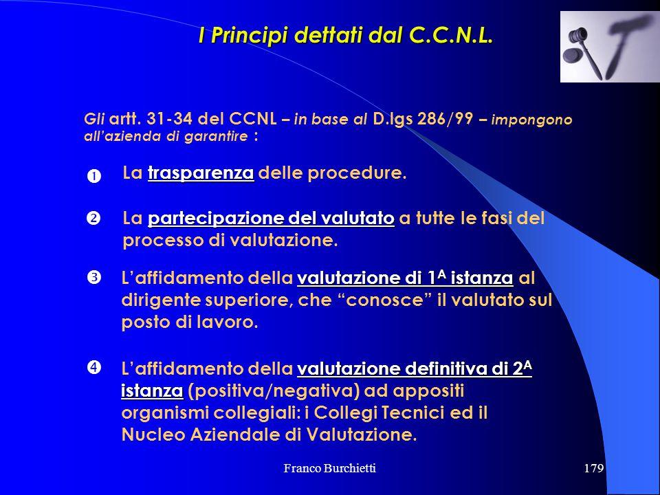 Franco Burchietti179 Gli artt. 31-34 del CCNL – in base al D.lgs 286/99 – impongono all'azienda di garantire :  trasparenza La trasparenza delle proc
