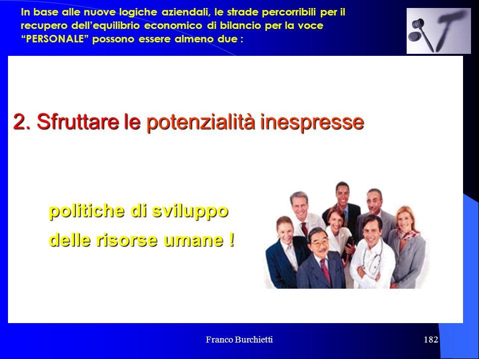Franco Burchietti182 1.Contenere i costi del personale riducendo il numero dei dipendenti e, magari, col risultato di ridurre i servizi erogati (quant