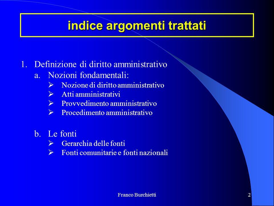 Franco Burchietti2 indice argomenti trattati 1.Definizione di diritto amministrativo a.Nozioni fondamentali:  Nozione di diritto amministrativo  Att