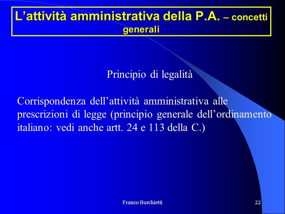 Franco Burchietti22 L'attività amministrativa della P.A. – concetti generali Principio di legalità Corrispondenza dell'attività amministrativa alle pr