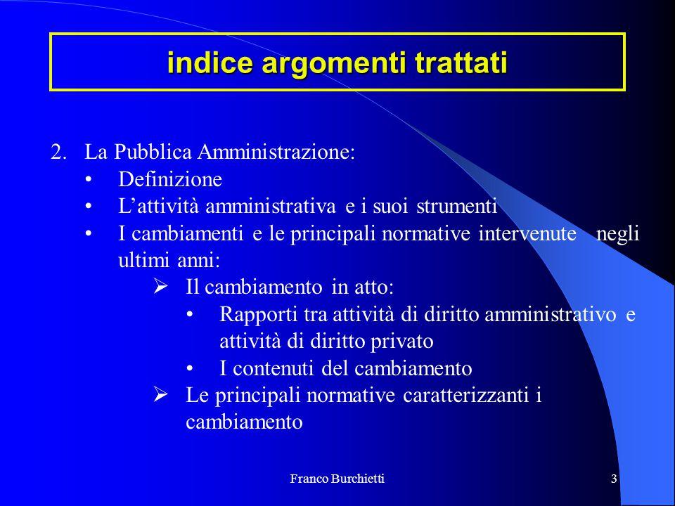 Franco Burchietti3 indice argomenti trattati 2.La Pubblica Amministrazione: Definizione L'attività amministrativa e i suoi strumenti I cambiamenti e l