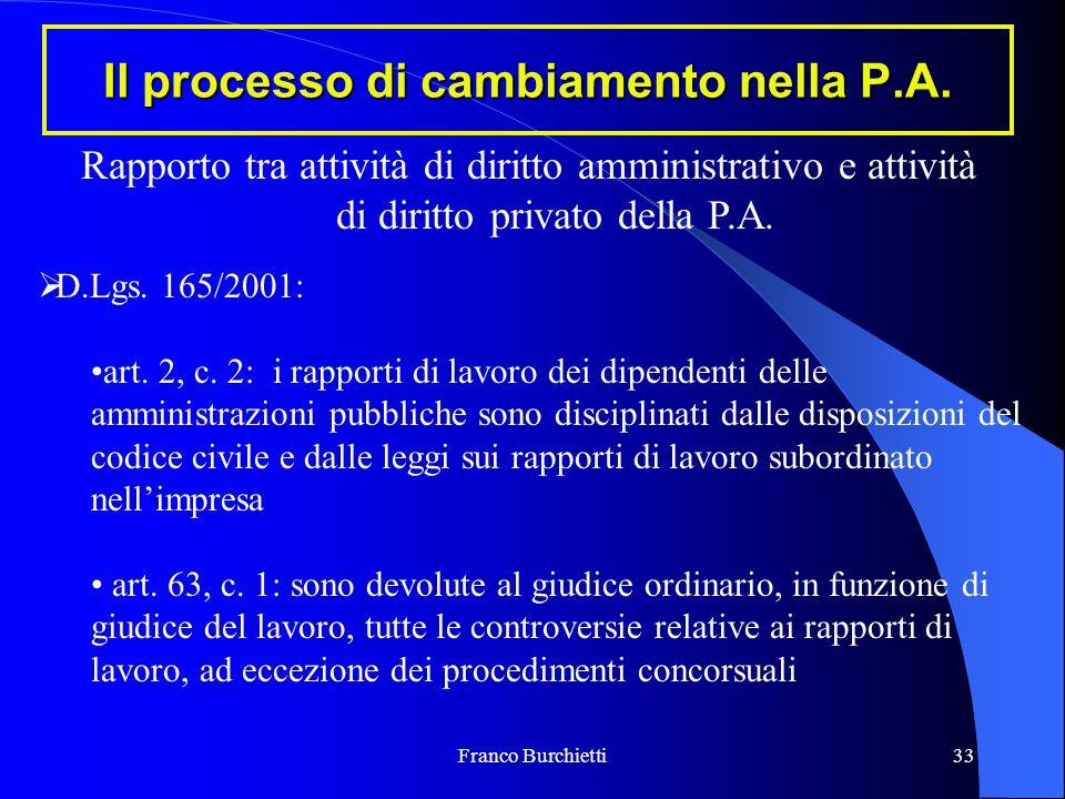 Franco Burchietti33 Il processo di cambiamento nella P.A. Rapporto tra attività di diritto amministrativo e attività di diritto privato della P.A.  D