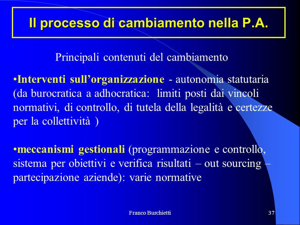 Franco Burchietti37 Il processo di cambiamento nella P.A. Interventi sull'organizzazione - autonomia statutaria (da burocratica a adhocratica: limiti
