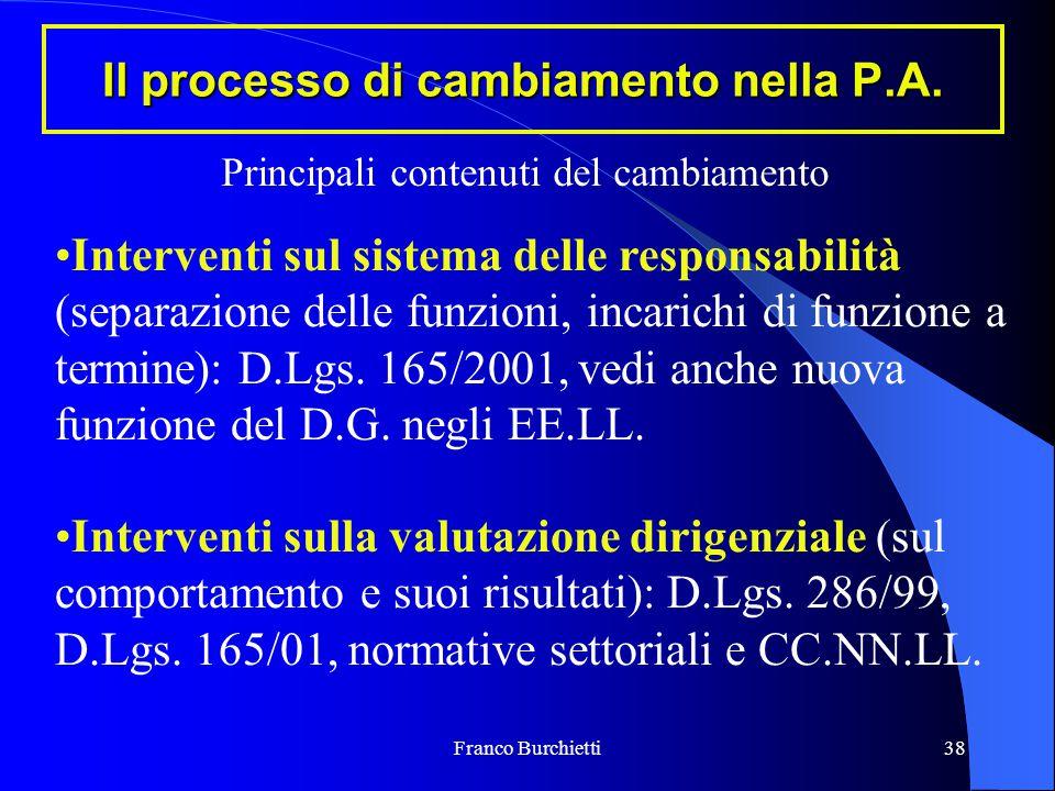 Franco Burchietti38 Il processo di cambiamento nella P.A. Interventi sul sistema delle responsabilità (separazione delle funzioni, incarichi di funzio