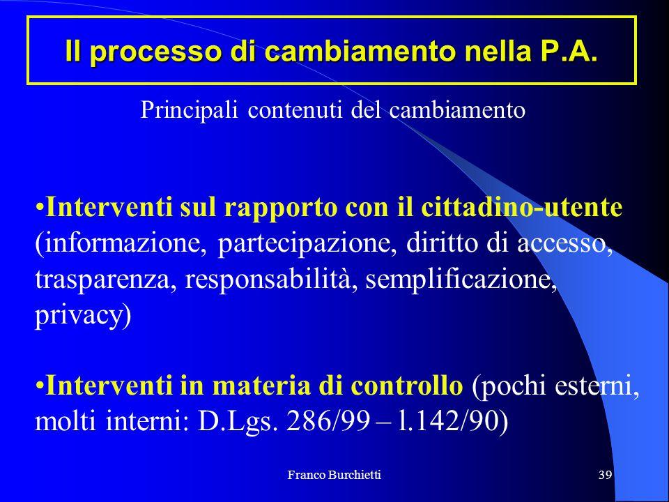 Franco Burchietti39 Il processo di cambiamento nella P.A. Interventi sul rapporto con il cittadino-utente (informazione, partecipazione, diritto di ac