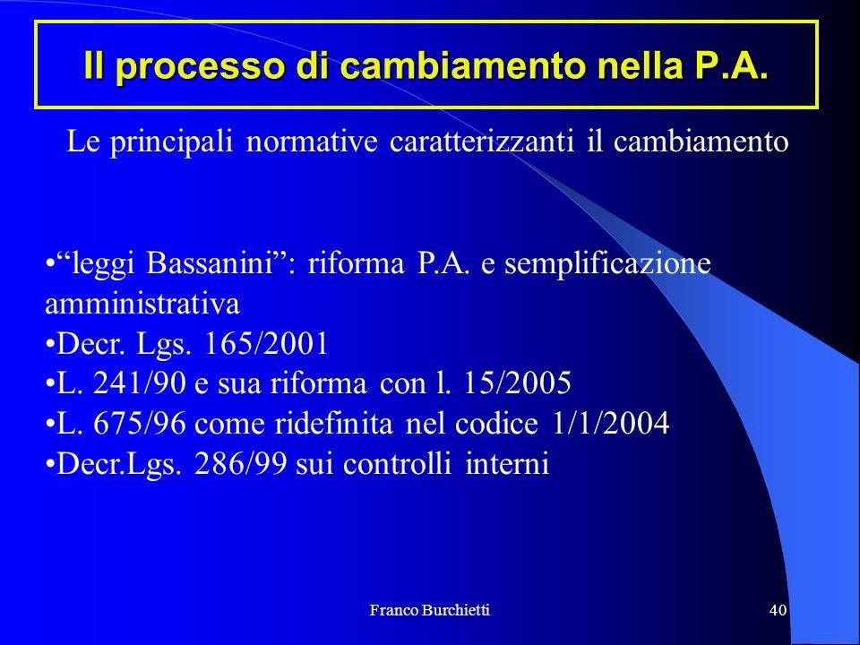 """Franco Burchietti40 Il processo di cambiamento nella P.A. """"leggi Bassanini"""": riforma P.A. e semplificazione amministrativa Decr. Lgs. 165/2001 L. 241/"""