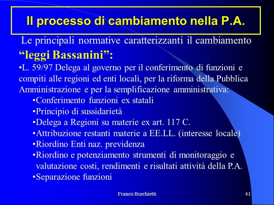 """Franco Burchietti41 Il processo di cambiamento nella P.A. """"leggi Bassanini"""": L. 59/97 Delega al governo per il conferimento di funzioni e compiti alle"""