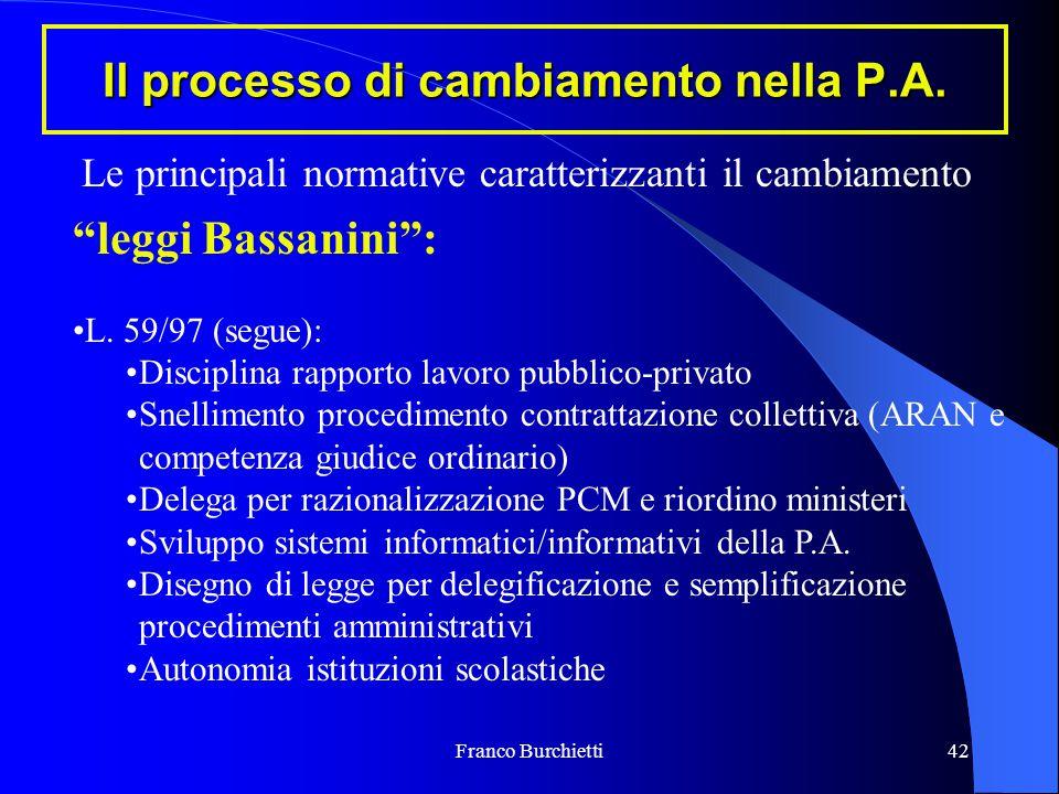 """Franco Burchietti42 Il processo di cambiamento nella P.A. """"leggi Bassanini"""": L. 59/97 (segue): Disciplina rapporto lavoro pubblico-privato Snellimento"""