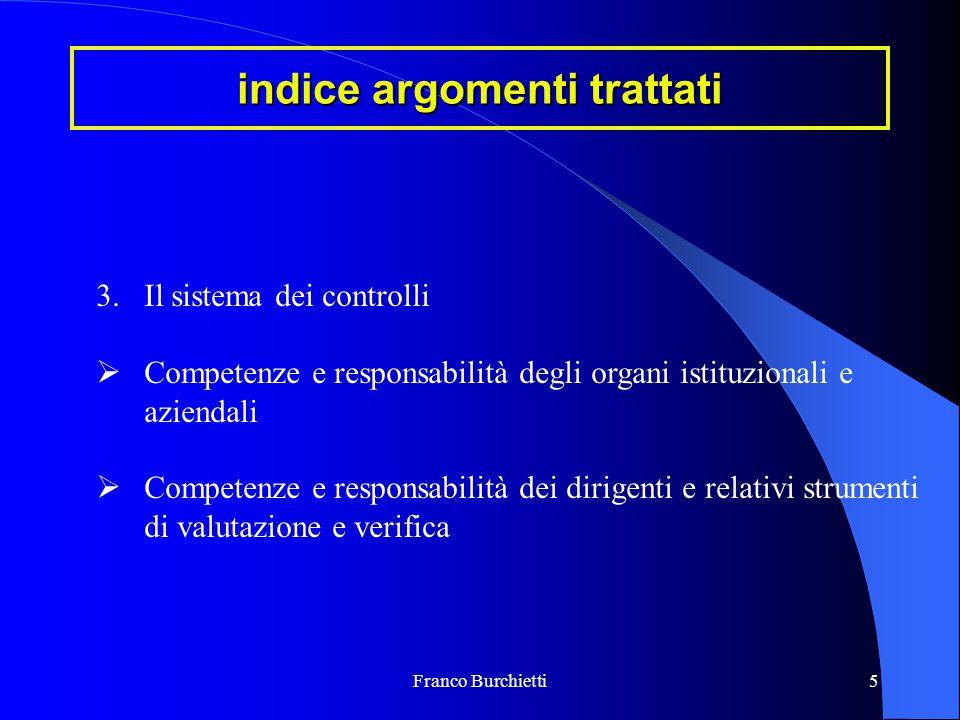 Franco Burchietti5 indice argomenti trattati 3.Il sistema dei controlli  Competenze e responsabilità degli organi istituzionali e aziendali  Compete