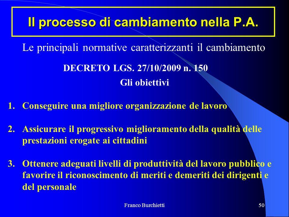 Franco Burchietti50 Il processo di cambiamento nella P.A. Le principali normative caratterizzanti il cambiamento DECRETO LGS. 27/10/2009 n. 150 Gli ob