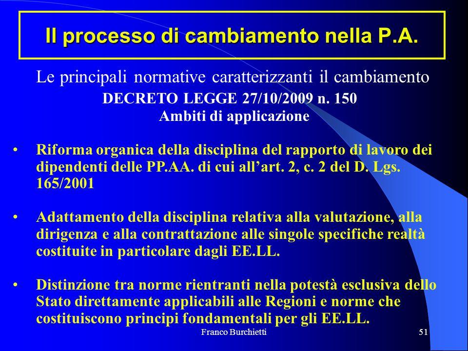 Franco Burchietti51 Il processo di cambiamento nella P.A. Le principali normative caratterizzanti il cambiamento DECRETO LEGGE 27/10/2009 n. 150 Ambit