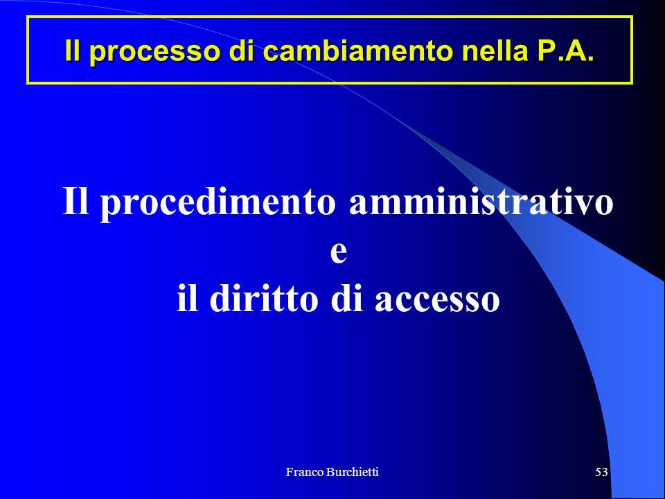 Franco Burchietti53 Il processo di cambiamento nella P.A. Il procedimento amministrativo e il diritto di accesso
