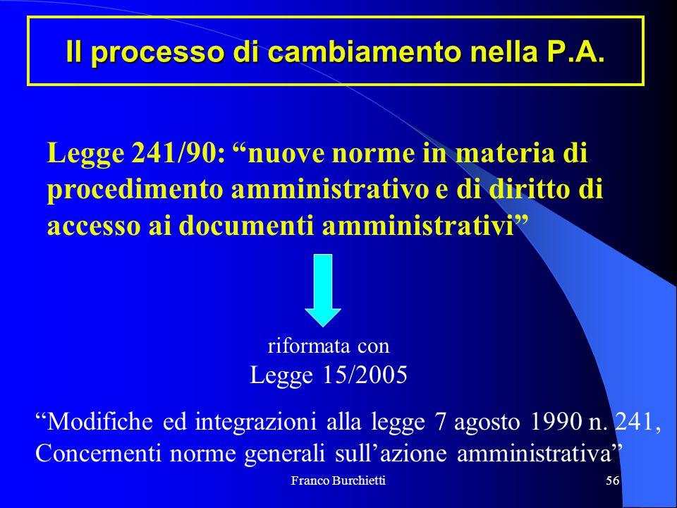 """Franco Burchietti56 Il processo di cambiamento nella P.A. Legge 241/90: """"nuove norme in materia di procedimento amministrativo e di diritto di accesso"""