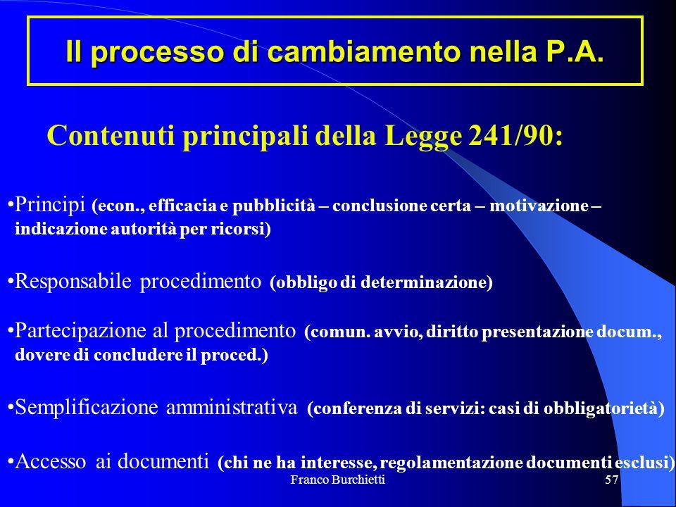 Franco Burchietti57 Il processo di cambiamento nella P.A. Contenuti principali della Legge 241/90: Principi (econ., efficacia e pubblicità – conclusio