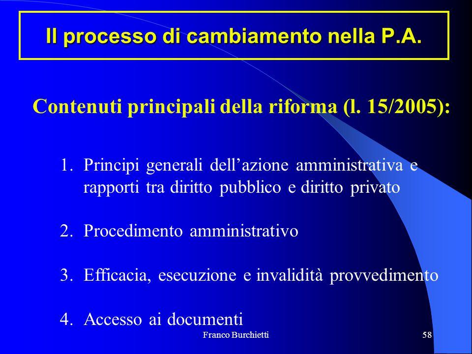 Franco Burchietti58 Il processo di cambiamento nella P.A. Contenuti principali della riforma (l. 15/2005): 1.Principi generali dell'azione amministrat