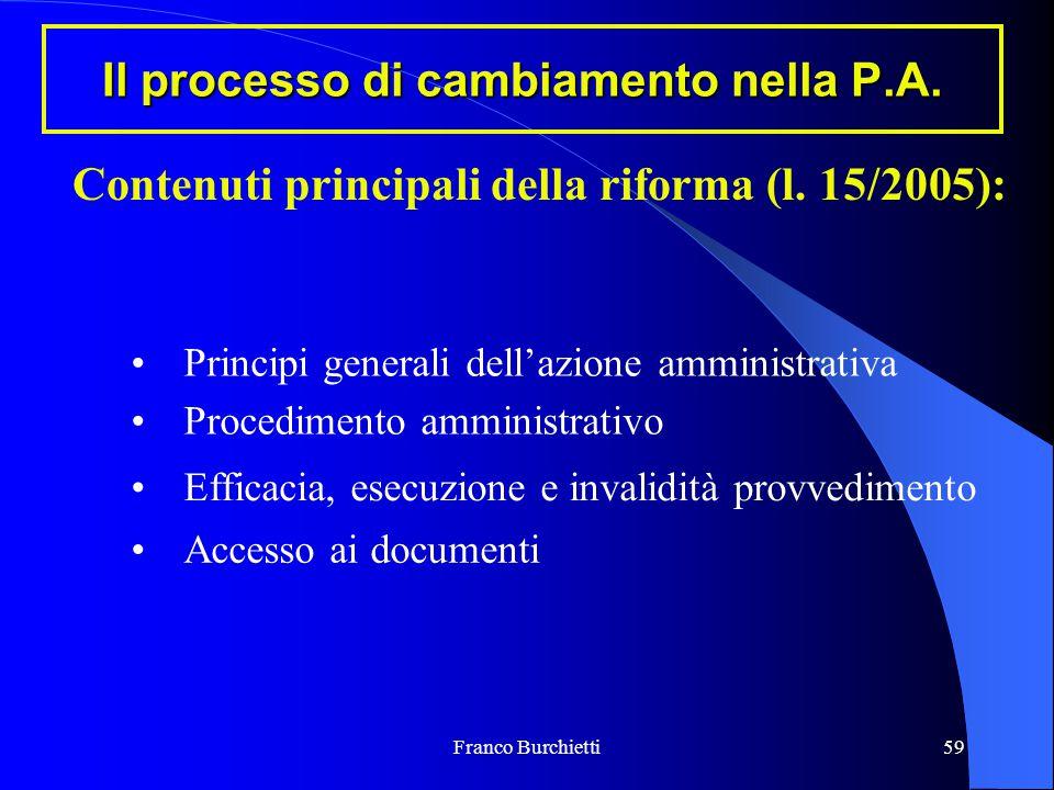 Franco Burchietti59 Il processo di cambiamento nella P.A. Contenuti principali della riforma (l. 15/2005): Procedimento amministrativo Principi genera