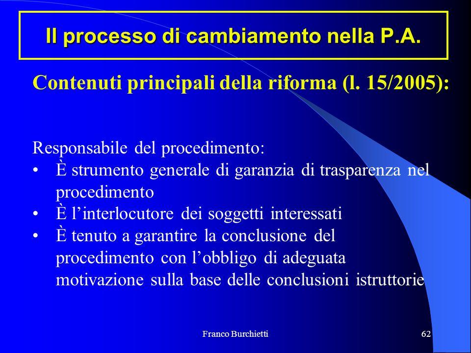 Franco Burchietti62 Il processo di cambiamento nella P.A. Contenuti principali della riforma (l. 15/2005): Responsabile del procedimento: È strumento
