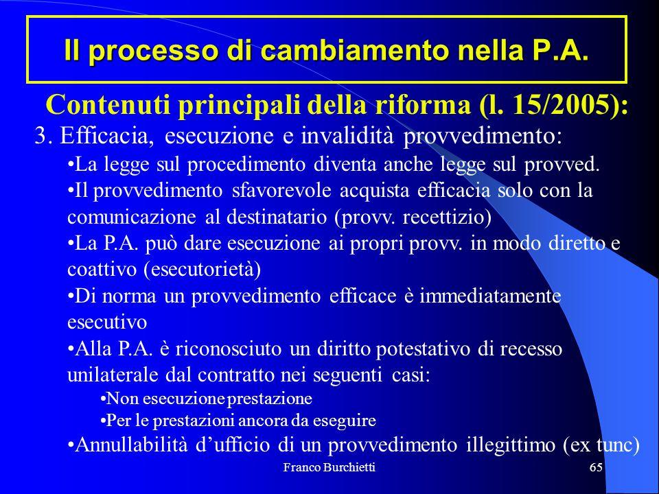 Franco Burchietti65 Il processo di cambiamento nella P.A. Contenuti principali della riforma (l. 15/2005): 3. Efficacia, esecuzione e invalidità provv