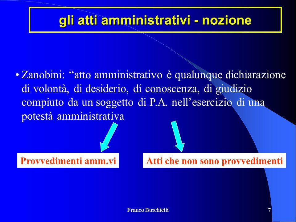 """Franco Burchietti7 gli atti amministrativi - nozione Zanobini: """"atto amministrativo è qualunque dichiarazione di volontà, di desiderio, di conoscenza,"""