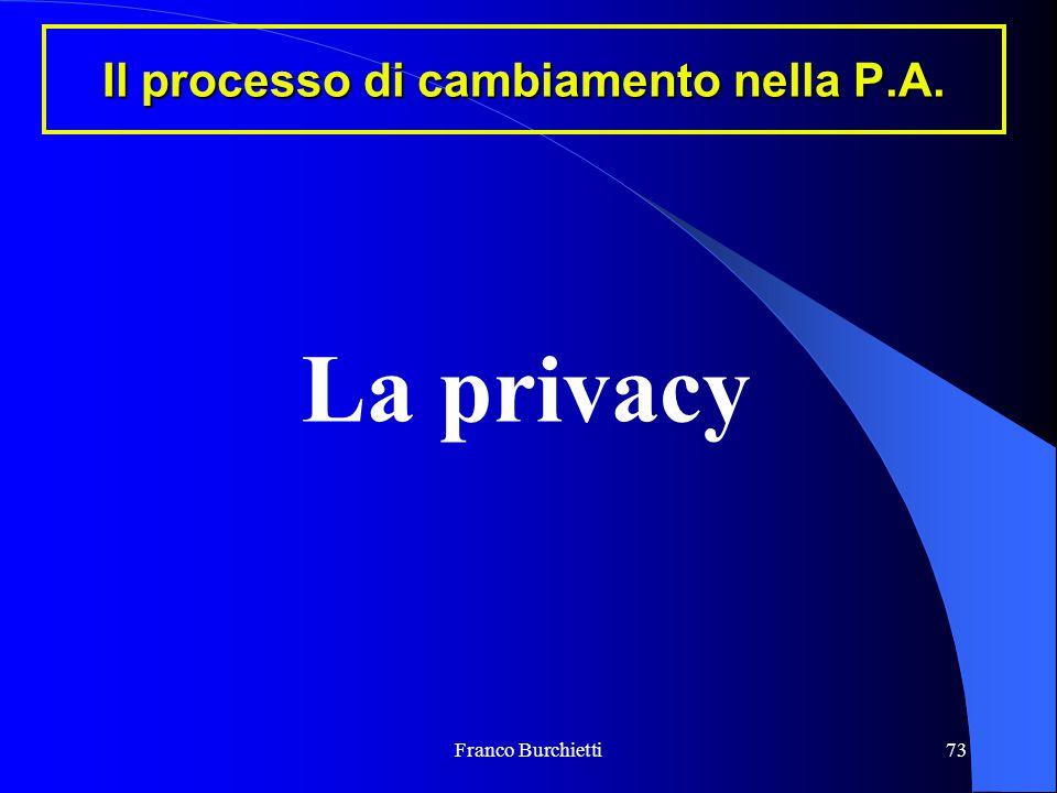 Franco Burchietti73 Il processo di cambiamento nella P.A. La privacy