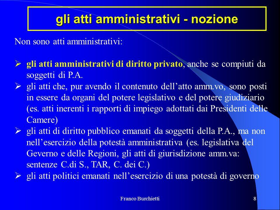 Franco Burchietti8 gli atti amministrativi - nozione Non sono atti amministrativi:  gli atti amministrativi di diritto privato, anche se compiuti da