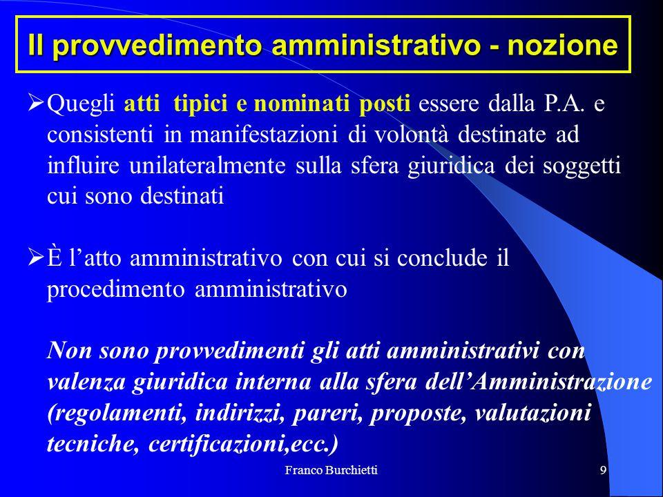 Franco Burchietti9 Il provvedimento amministrativo - nozione  Quegli atti tipici e nominati posti essere dalla P.A. e consistenti in manifestazioni d