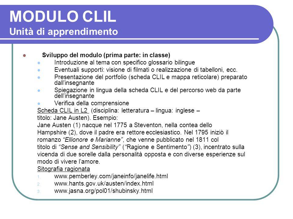 MODULO CLIL Unità di apprendimento Sviluppo del modulo (prima parte: in classe) Introduzione al tema con specifico glossario bilingue Eventuali suppor