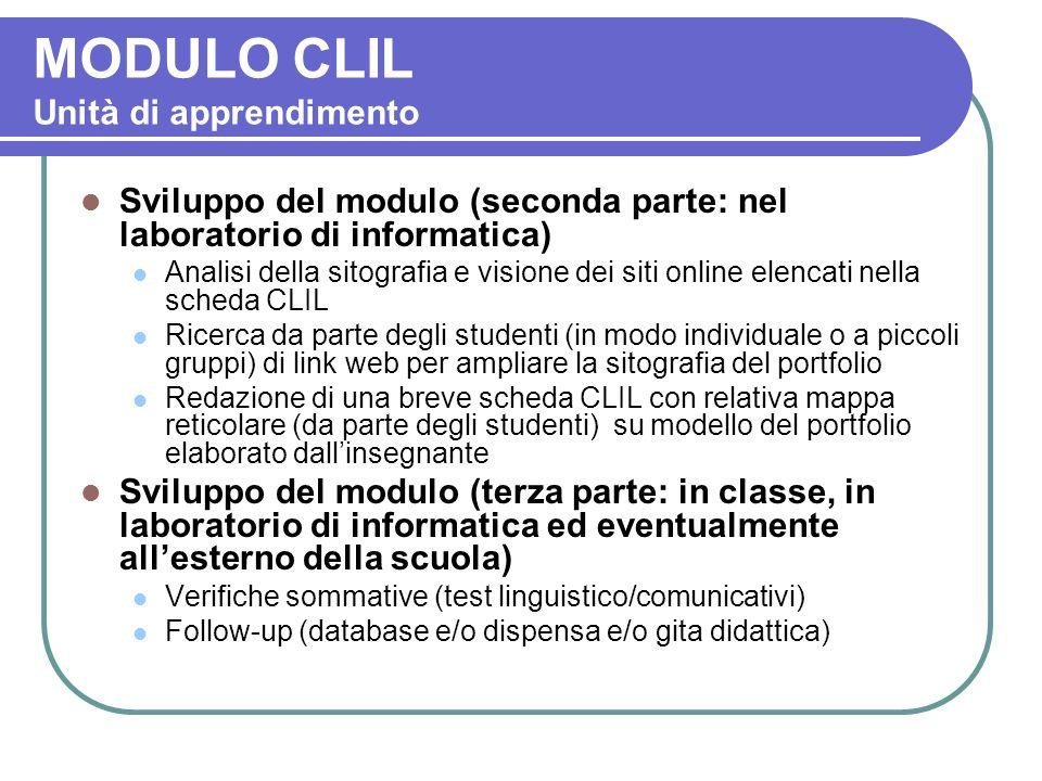 MODULO CLIL Unità di apprendimento Sviluppo del modulo (seconda parte: nel laboratorio di informatica) Analisi della sitografia e visione dei siti onl