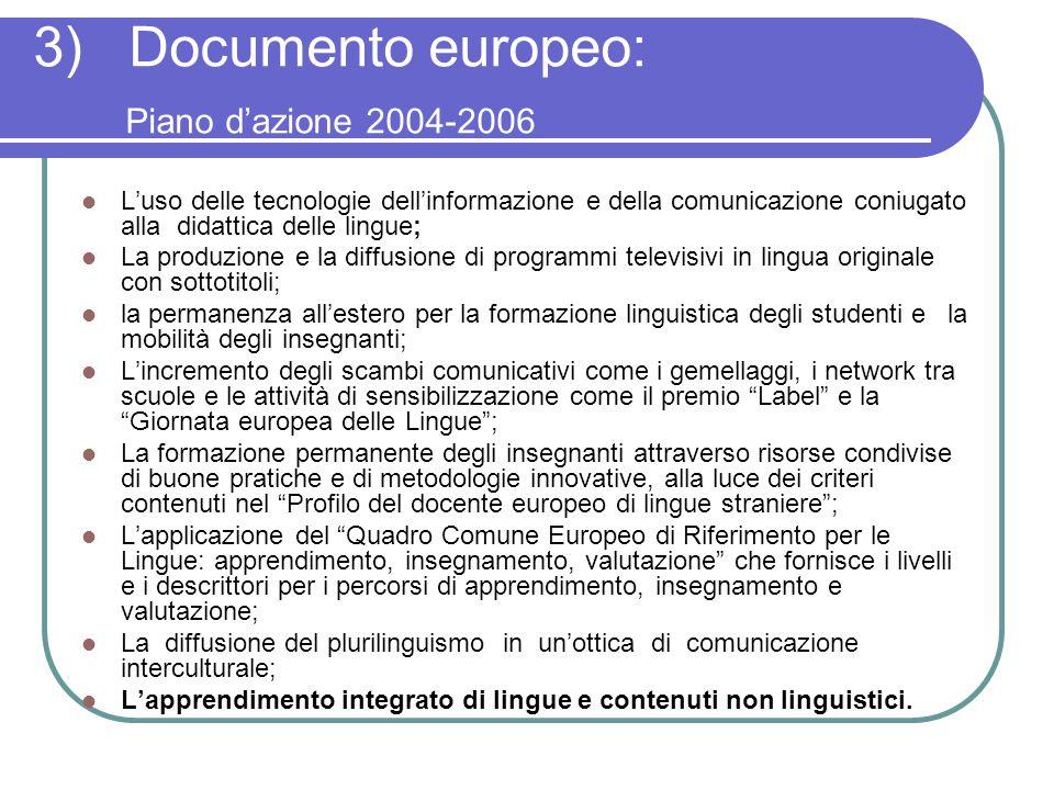 3) Documento europeo: Piano d'azione 2004-2006 L'uso delle tecnologie dell'informazione e della comunicazione coniugato alla didattica delle lingue; L