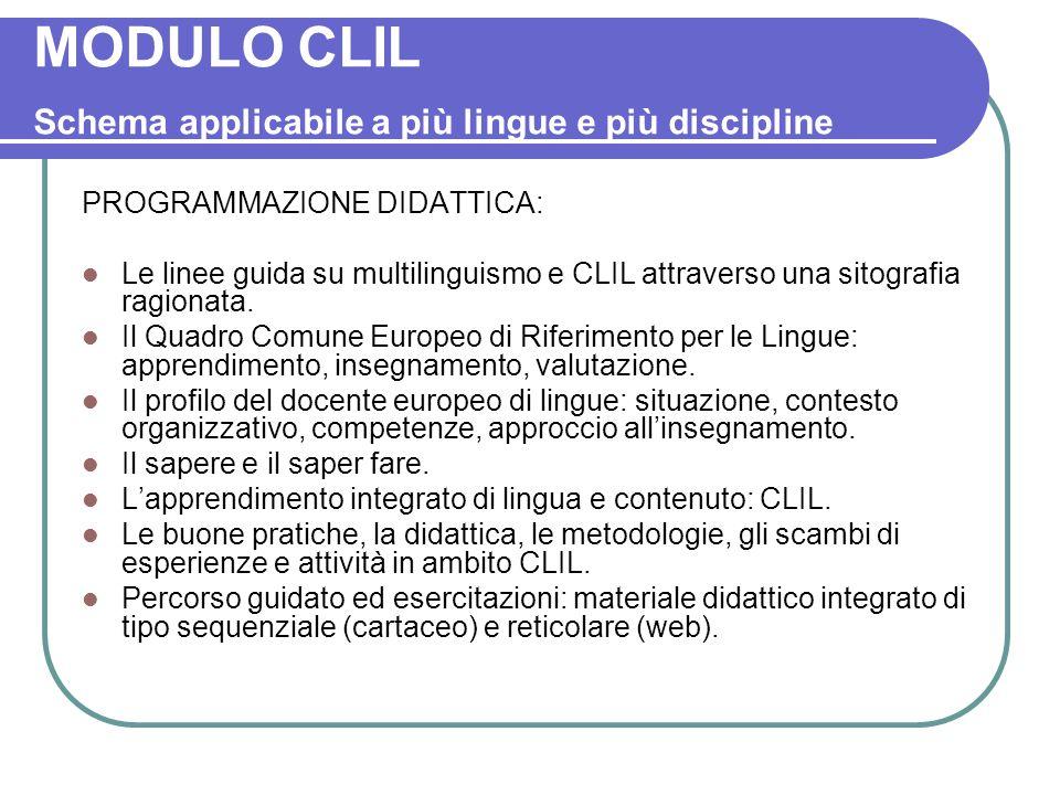 MODULO CLIL Schema applicabile a più lingue e più discipline PROGRAMMAZIONE DIDATTICA: Le linee guida su multilinguismo e CLIL attraverso una sitograf