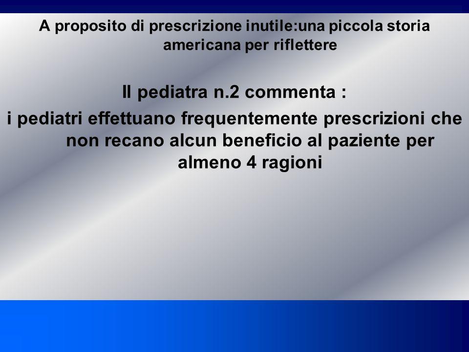 A proposito di prescrizione inutile:una piccola storia americana per riflettere Pediatra n.1:i pediatri effettuano frequentemente prescrizioni che non recano alcun beneficio al paziente.Tutto cio è etico.