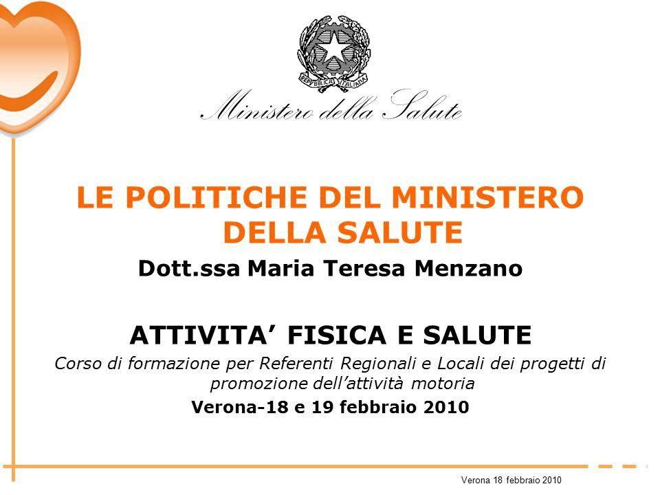 Verona 18 febbraio 2010 LE POLITICHE DEL MINISTERO DELLA SALUTE Dott.ssa Maria Teresa Menzano ATTIVITA' FISICA E SALUTE Corso di formazione per Refere