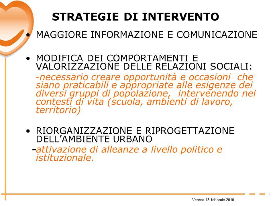 Verona 18 febbraio 2010 STRATEGIE DI INTERVENTO MAGGIORE INFORMAZIONE E COMUNICAZIONE MODIFICA DEI COMPORTAMENTI E VALORIZZAZIONE DELLE RELAZIONI SOCI