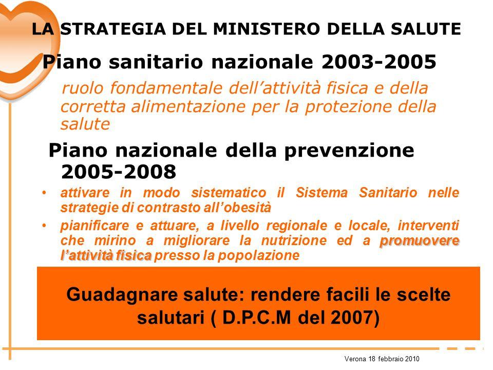 Verona 18 febbraio 2010 LA STRATEGIA DEL MINISTERO DELLA SALUTE Piano sanitario nazionale 2003-2005 ruolo fondamentale dell'attività fisica e della co