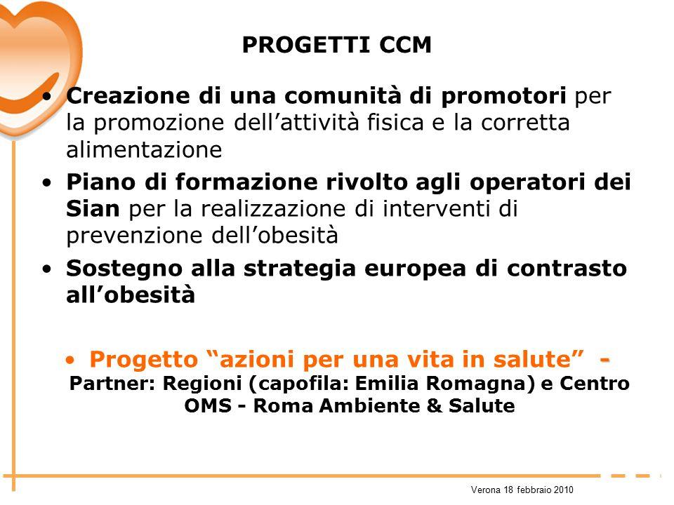 Verona 18 febbraio 2010 PROGETTI CCM Creazione di una comunità di promotori per la promozione dell'attività fisica e la corretta alimentazione Piano d