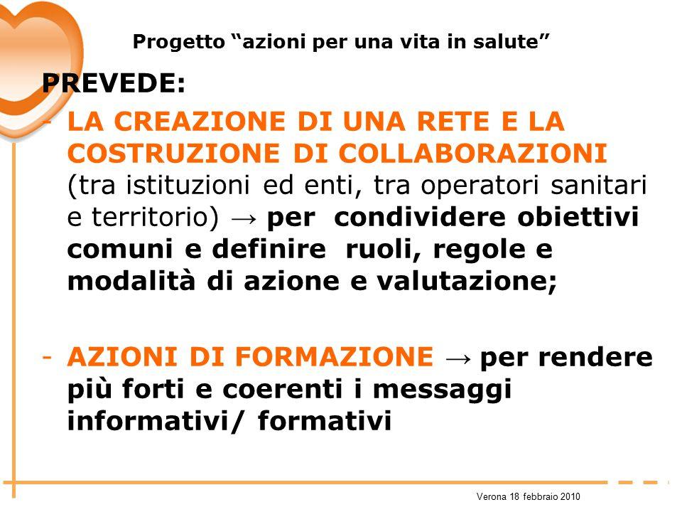 """Verona 18 febbraio 2010 Progetto """"azioni per una vita in salute"""" PREVEDE: -LA CREAZIONE DI UNA RETE E LA COSTRUZIONE DI COLLABORAZIONI (tra istituzion"""