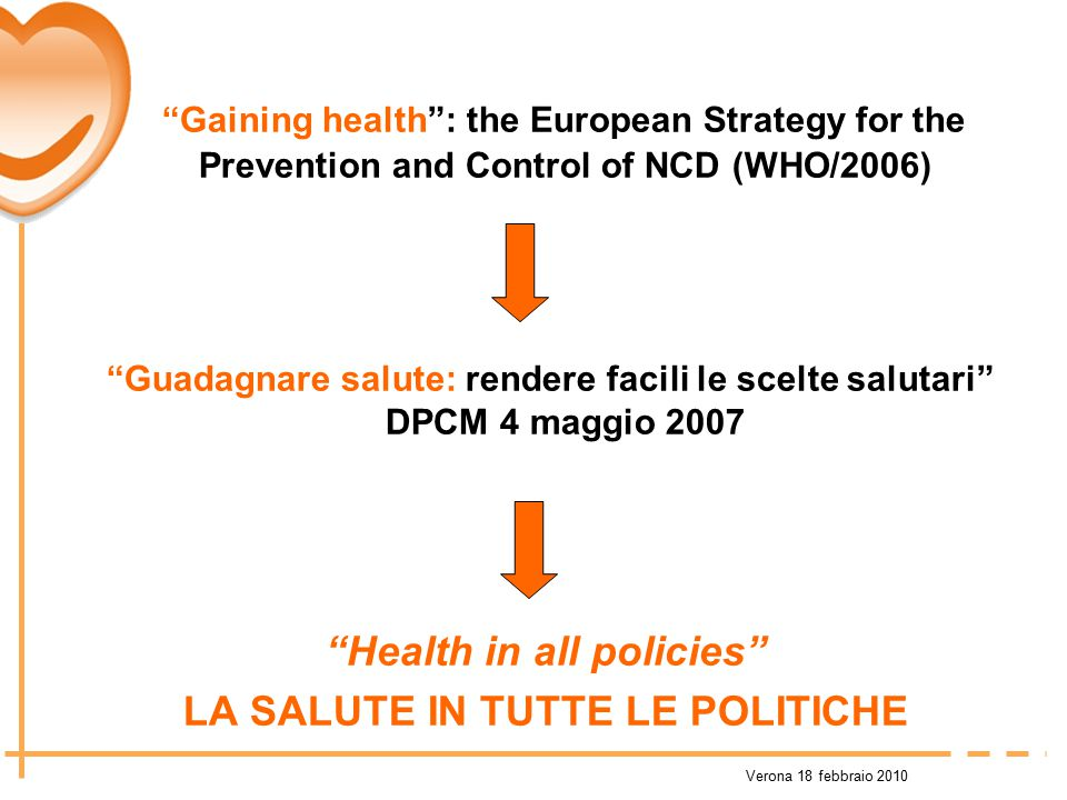 "Verona 18 febbraio 2010 ""Gaining health"": the European Strategy for the Prevention and Control of NCD (WHO/2006) ""Guadagnare salute: rendere facili le"