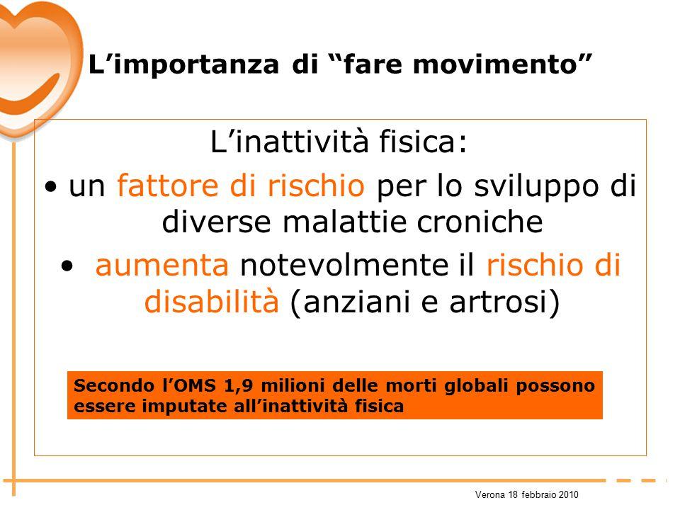"""Verona 18 febbraio 2010 L'importanza di """"fare movimento"""" L'inattività fisica: un fattore di rischio per lo sviluppo di diverse malattie croniche aumen"""