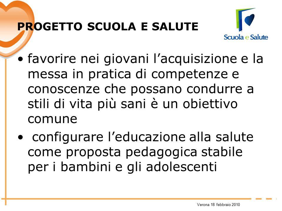 Verona 18 febbraio 2010 PROGETTO SCUOLA E SALUTE favorire nei giovani l'acquisizione e la messa in pratica di competenze e conoscenze che possano cond