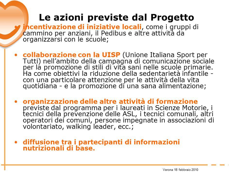 Verona 18 febbraio 2010 Le azioni previste dal Progetto incentivazione di iniziative locali, come i gruppi di cammino per anziani, il Pedibus e altre