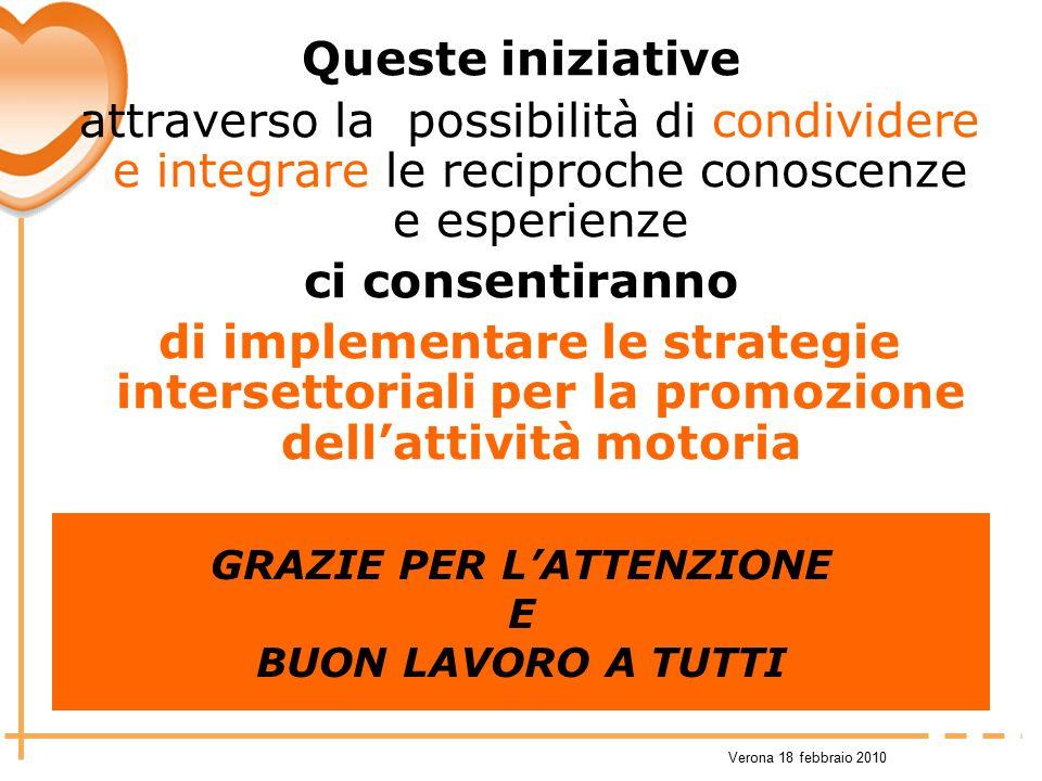Verona 18 febbraio 2010 Queste iniziative attraverso la possibilità di condividere e integrare le reciproche conoscenze e esperienze ci consentiranno