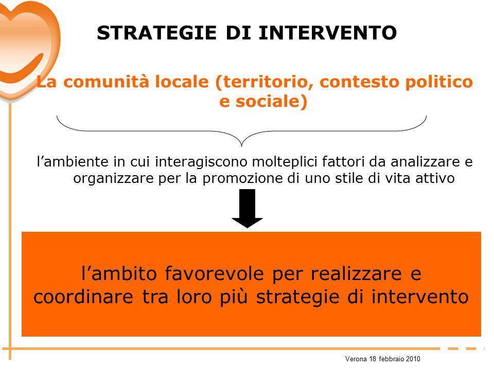 Verona 18 febbraio 2010 STRATEGIE DI INTERVENTO La comunità locale (territorio, contesto politico e sociale) l'ambiente in cui interagiscono molteplic