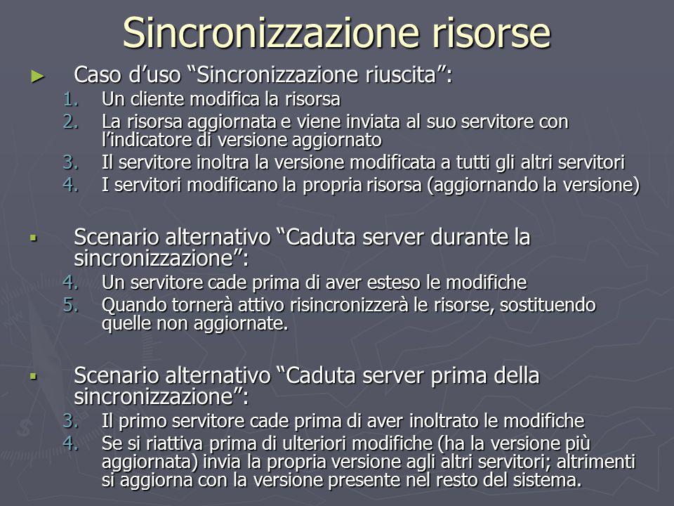 """Sincronizzazione risorse ► Caso d'uso """"Sincronizzazione riuscita"""": 1.Un cliente modifica la risorsa 2.La risorsa aggiornata e viene inviata al suo ser"""