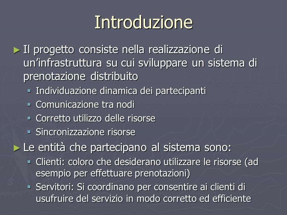 Introduzione ► Il progetto consiste nella realizzazione di un'infrastruttura su cui sviluppare un sistema di prenotazione distribuito  Individuazione