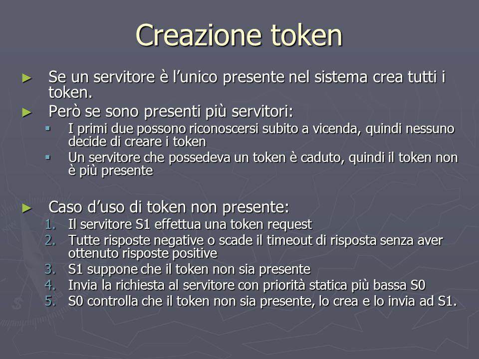 Creazione token ► Se un servitore è l'unico presente nel sistema crea tutti i token. ► Però se sono presenti più servitori:  I primi due possono rico