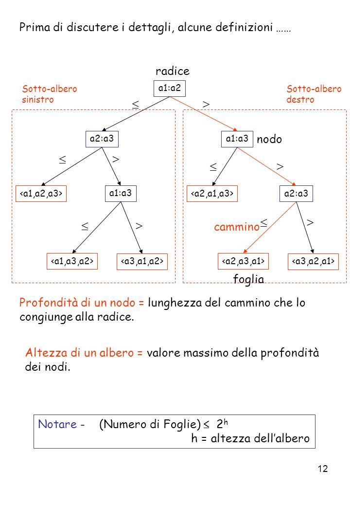 12 Prima di discutere i dettagli, alcune definizioni …… Altezza di un albero = valore massimo della profondità dei nodi.
