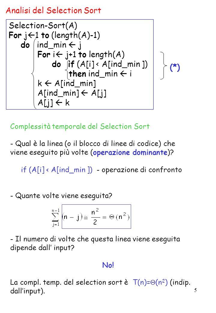 5 Analisi del Selection Sort Complessità temporale del Selection Sort - Qual è la linea (o il blocco di linee di codice) che viene eseguito più volte (operazione dominante).