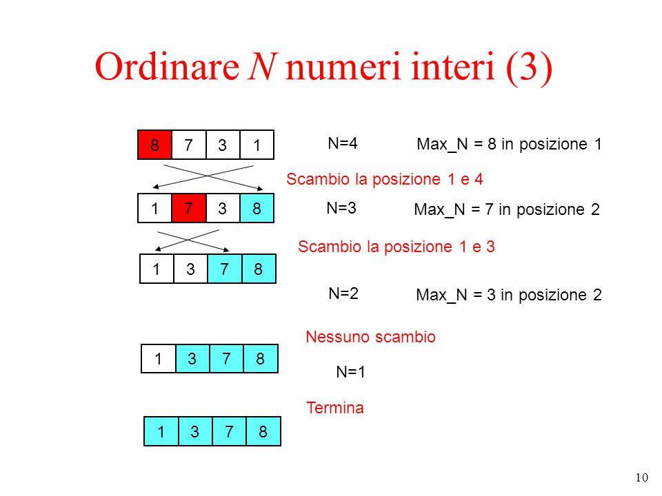 10 Ordinare N numeri interi (3) 8731 1378 1738 N=4 Max_N = 8 in posizione 1 Scambio la posizione 1 e 4 N=3 Max_N = 7 in posizione 2 Scambio la posizione 1 e 3 N=2 Max_N = 3 in posizione 2 Nessuno scambio 1378 Termina 1378 N=1