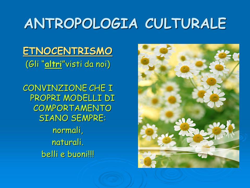 ANTROPOLOGIA CULTURALE ETNOCENTRISMO (Gli altri visti da noi) CONVINZIONE CHE I PROPRI MODELLI DI COMPORTAMENTO SIANO SEMPRE: normali,naturali.